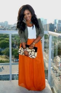 maxi skirt with grey cuffed blazer