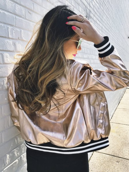 metallic baseball jacket with black mini shift dress
