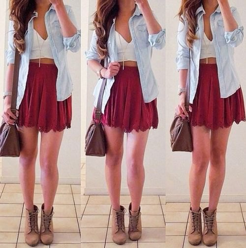 mini skirt with white deep v neck crop top and chambray button up shirt