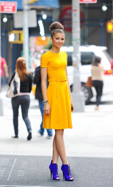 yellow dress with boots