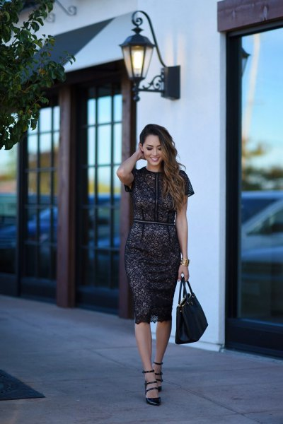 navy blue short sleeve midi bodycon lace dress