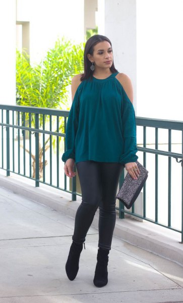 navy cold shoulder top with black suede ankle boots