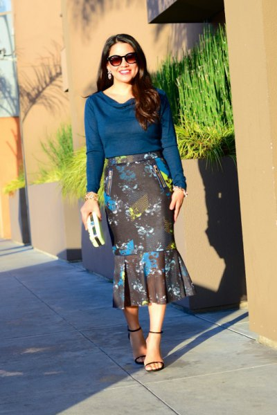 navy cowl neck sweater with black floral midi mermaid skirt