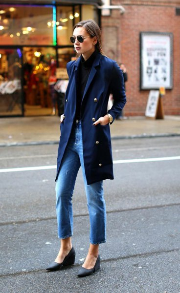 navy shirt with matching long trench coat