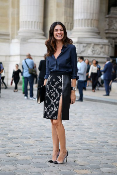 navy silk button up blouse with black and silver sequin midi skirt