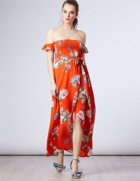 off the shoulder maxi chiffon floral printed sundress