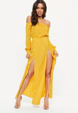 off the shoulder mustard yellow double slit maxi dress