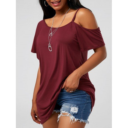 one shoulder burgundy scoop neck tee with blue mini denim shorts