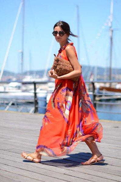 orange and blue printed chiffon maxi flared dress