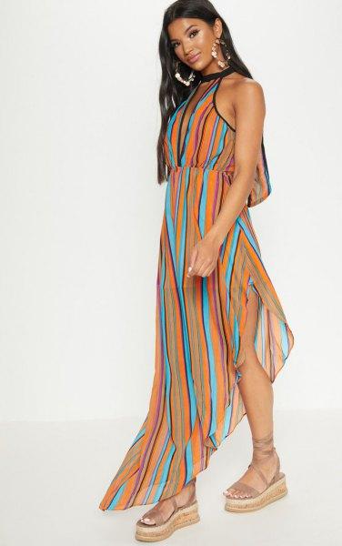 orange blue and black vertical striped maxi chiffon dress