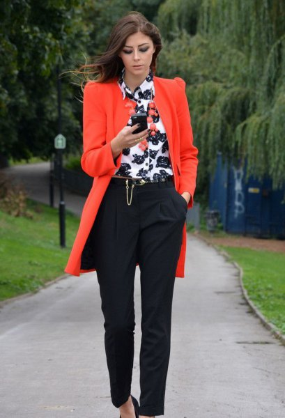 orange long blazer with white and black printed button up shirt