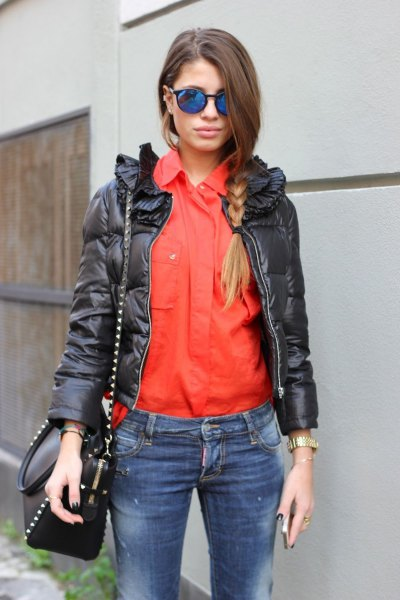orange shirt with black leather jacket and jeans