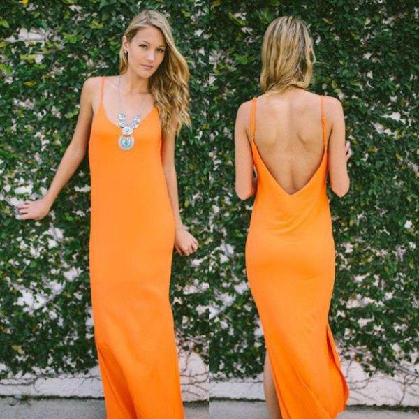 orange spaghetti strap backless maxi shift dress
