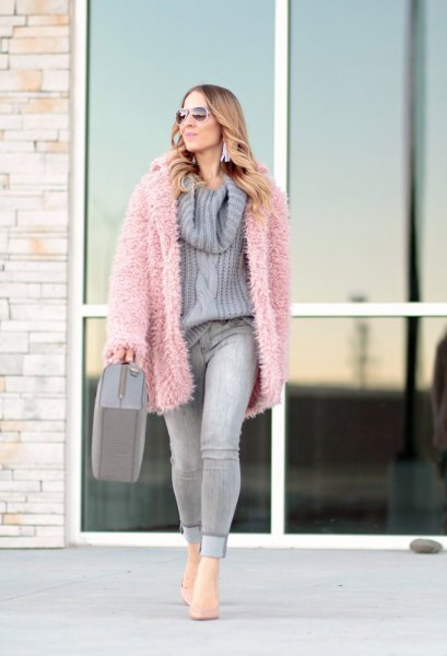 oversized pale pink fuzzy cardigan with light purple knit sweater