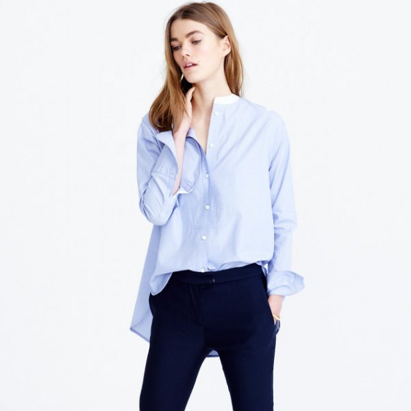 oversized sky blue no collar shirt with navy jeans