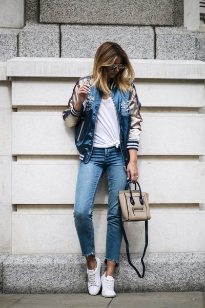 pale pink and blue satin jacket with cropped skinny jeans