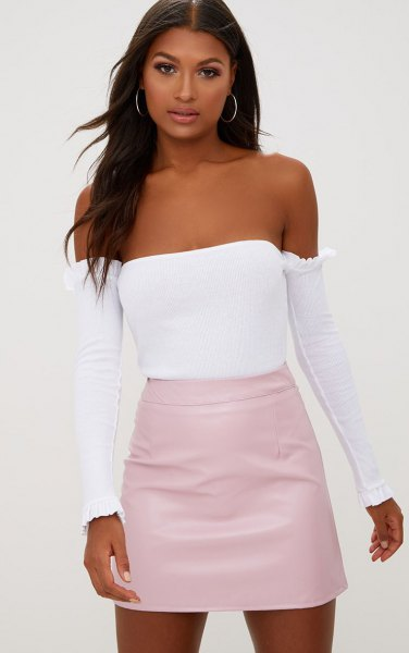 pale pink skirt with white tube top and separated long sleeves