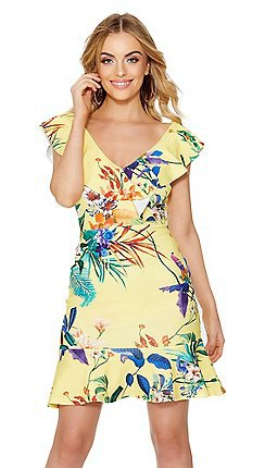 pale yellow ruffle sleeve v neck floral printed dress