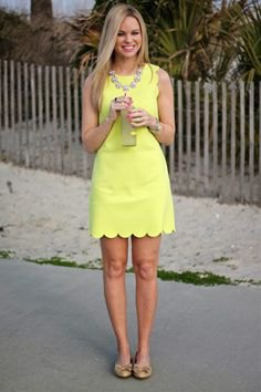pale yellow scalloped hem mini sheath dress