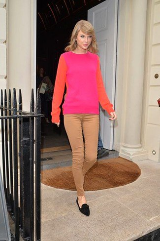 pink and green color block sweater with black suede loafers
