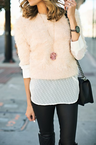 pink fitted fuzzy sweater with white chiffon blouse and leather leggings