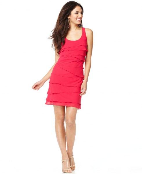 pink multi layered sleeveless mini scoop neck dress