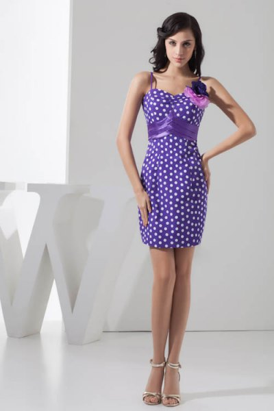 purple and white polka dot mini bodycon cocktail dress