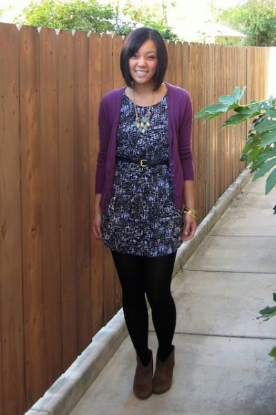 purple cardigan with black printed and belted tunic