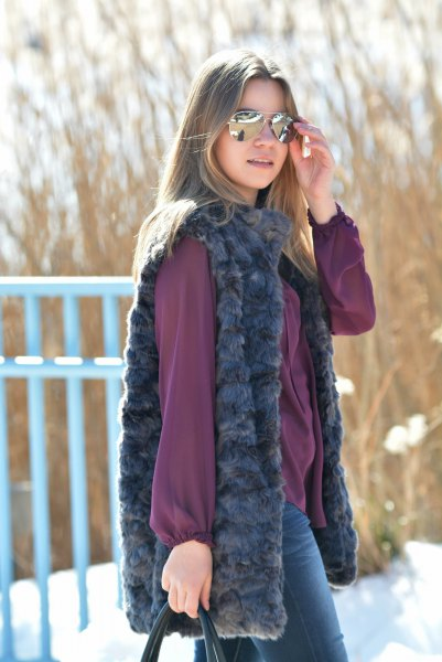 purple chiffon blouse with matching faux fur vest