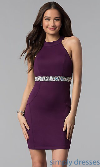 purple halter neck belted bodycon mini dress