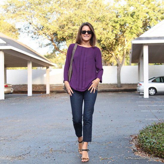 purple long sleeve pleated blouse with ankle jeans