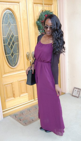 purple maxi cotton dress with matching cardigan