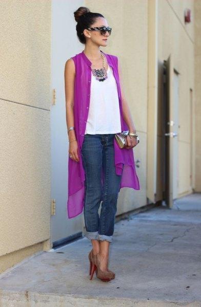 purple sleeveless chiffon cardigan with white blouse