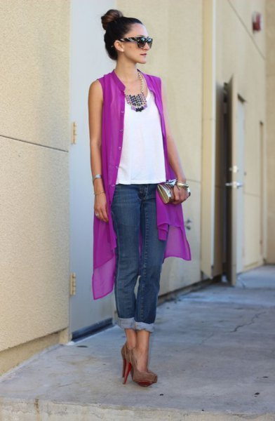 purple sleeveless chiffon cardigan with white blouse