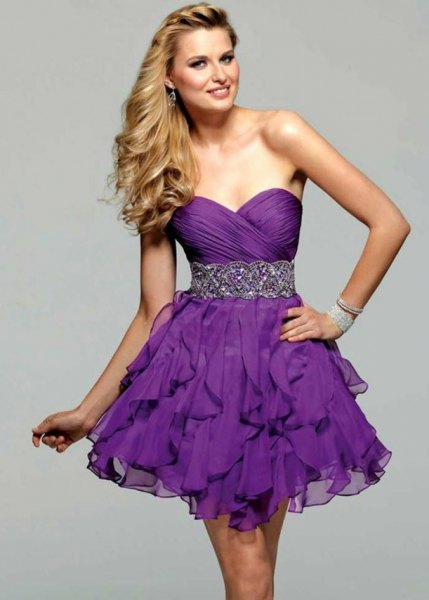 purple sweetheart belted ruffle mini cocktail dress