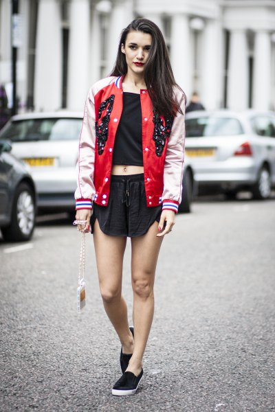 red and pale pink baseball bomber jacket with mini black shorts