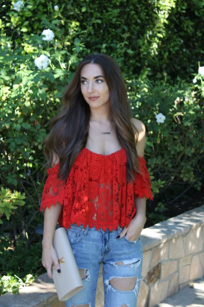 red cold shoulder lace top with ripped boyfriend jeans
