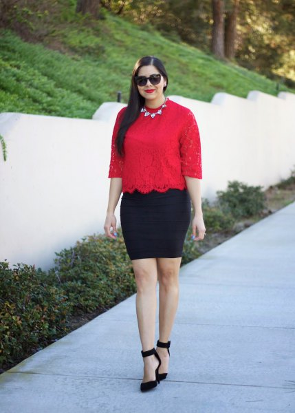 red half sleeve scalloped hem top with black pencil skirt