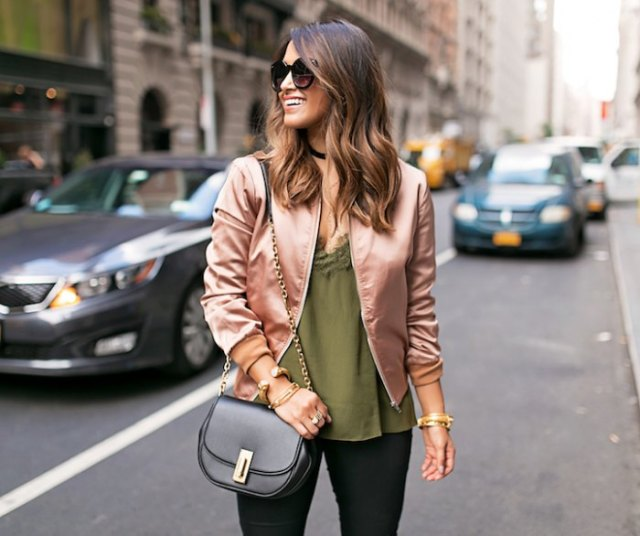 rose gold bomber jacket with green deep v neck vest top