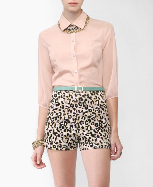 rose gold chiffon blouse with leopard print high waisted mini shorts