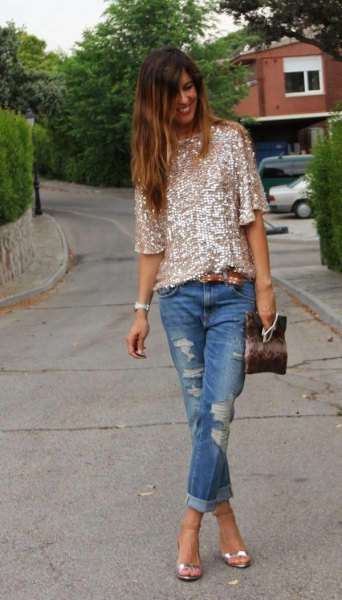 rose gold half sleeve sequin shirt with ripped cuffed jeans