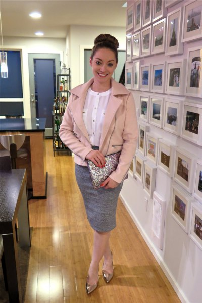 rose gold leather jacket with heather grey pencil skirt