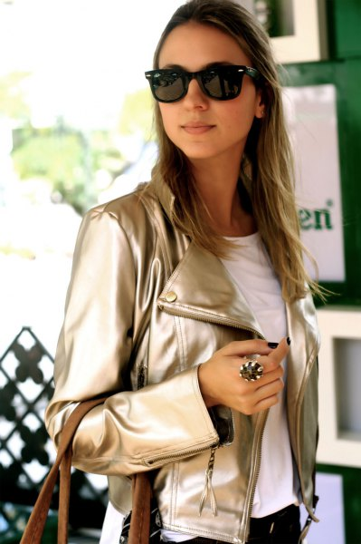 rose gold metallic leather jacket with white tee and black jeans