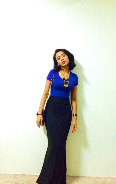 royal blue t shirt with black maxi mermaid skirt