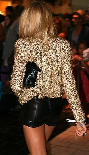 sequin blazer jacket with black mini leather shorts