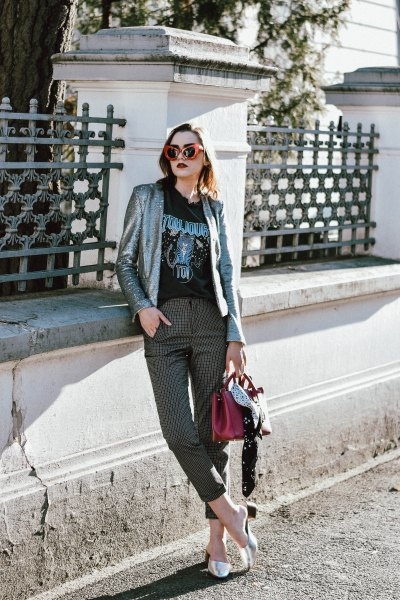 silver blazer with black print tee and plaid cropped pants