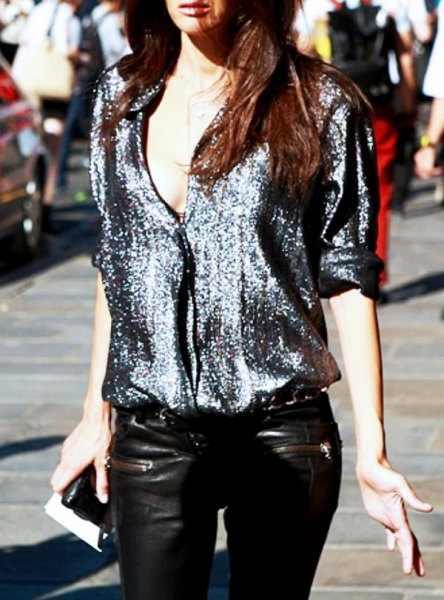 silver sequin blouse with black leather pants