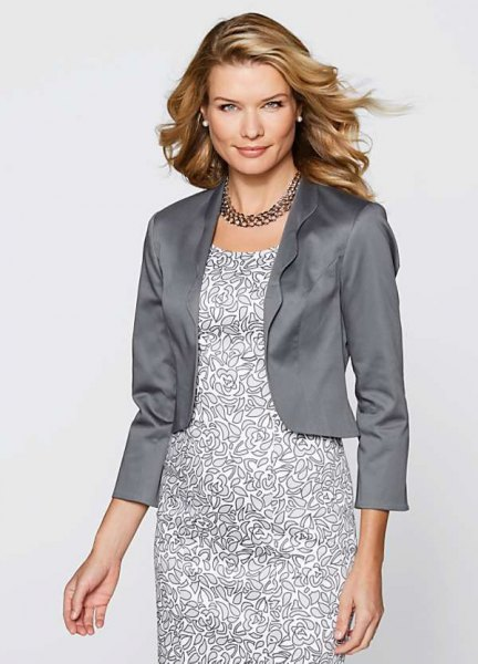 silver short silk evening jacket with printed white midi dress