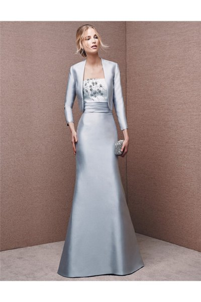 silver silk evening jacket with matching floor length flowy dress