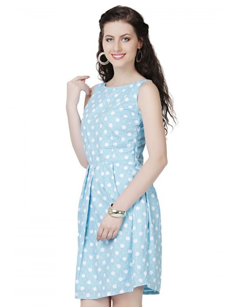 sky blue and white polka dot mini tank dress